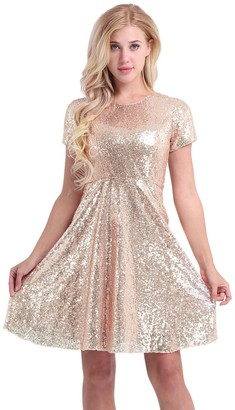 iEFiEL Women's Sequin Short Sleeve Cocktail Evening Party Bridesmaid A-line Dress Gold UK Size 8 /#4