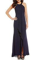 Calvin Klein Drape Beaded-Neck Chiffon Gown