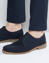 Lambretta Brogues Shoes In Navy Suede