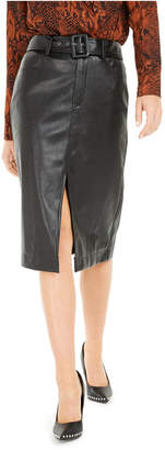 Bar III Becca Tilley x Faux Leather Belted Slit Skirt