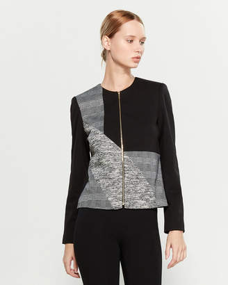 Calvin Klein Mixed Media Full-Zip Ponte Jacket