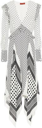 Altuzarra Asymmetric Polka-dot Silk Crepe De Chine Dress