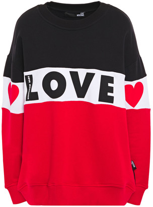 Love Moschino Color-block French Cotton-terry Sweatshirt