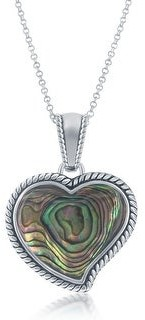 La Preciosa 925 Sterling Silver Rhodium Plated Oxidized Antique Large Natural Turquoise/Abalone Heart 18?? Pendant Necklace