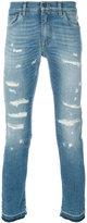 Dolce & Gabbana distressed jeans - men - Cotton/Calf Leather/Spandex/Elastane/zamac - 46