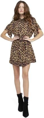 Alice + Olivia Jude Leopard Ruffle Sleeve Dress