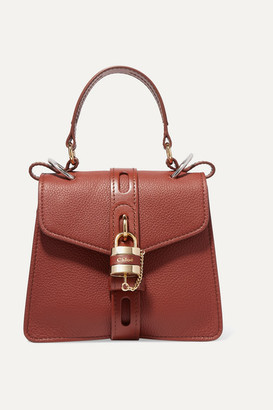 Chloé Aby Small Textured And Smooth Leather Tote - Brown