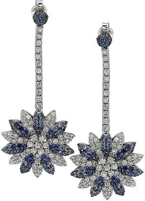 LeVian Suzy 18K & Silver 6.47 Ct. Tw. Diamond & Sapphire Flower Drop Earrings