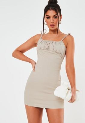 Missguided Blush Ruched Bust Stretch Denim Mini Dress