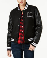 Madden-Girl Juniors' Faux-Leather-Sleeve Bomber Jacket, Created for Macy's