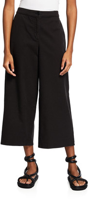 Eileen Fisher Stretch Organic Cotton-Hemp Cropped Trousers