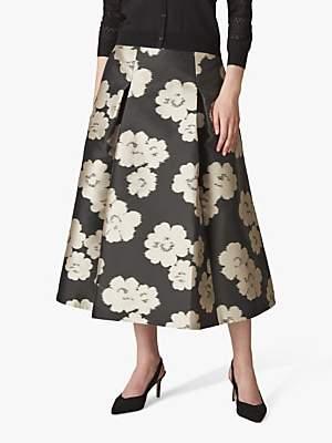 Jaeger Floral Full Skirt, Black