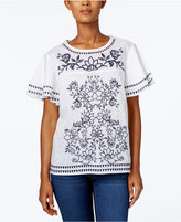 Charter Club Ruffle-Sleeve Embroidered Blouse, Created for Macy's