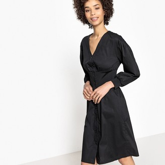 La Redoute Collections Flared Button-Through Dress with Elasticated Waist