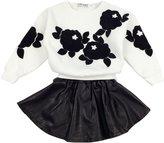Jastore 2PCS Baby Girl Clothing Set Bat Long-Sleeve Sweater +PU Leather Skirt