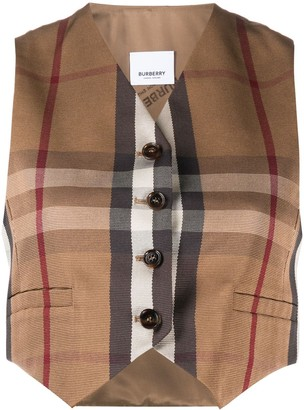Burberry Check Print Cropped Waistcoat