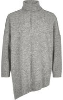 River Island Girls grey knit asymmetric hem tunic