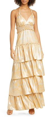 LIKELY Ivy Tiered Satin Maxi Dress