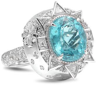 Coomi Trinity 18k White Gold Paraiba Tourmaline Mixed-Diamond Ring, Size 7