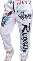 jeansian Men's Alphabet Printed Sport DrawString Baggy Long Pants Sweatpants S435 M