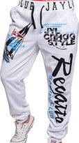 jeansian Men's Alphabet Printed Sport DrawString Baggy Long Pants Sweatpants S435 XL