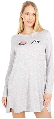 Kate Spade Brushed Sweater Knit Sleepshirt (Printed Heather Grey 1) Women's Pajama
