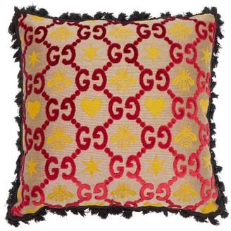Gucci GG-jacquard Velvet Cushion - Black Multi