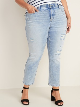 Old Navy High-Waisted Secret-Slim Pockets + Waistband Power Slim Straight Plus-Size Distressed Jeans