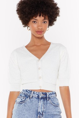 Nasty Gal Womens Rumour has Knit Cropped Button-Down Cardigan - White
