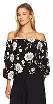 Lucca Couture Women's Floral Print Lauren 3/4 Sleeve Off The Shoulder Top