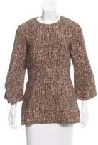 Lela Rose Textured Long Sleeve Top