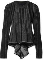 Proenza Schouler Ribbed Stretch-knit Peplum Sweater - Black