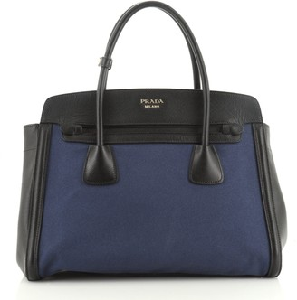 Prada Cuir Frame Convertible Tote Canvas and Saffiano Leather Large