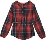 Joe Fresh Kid Girls' Plaid Tunic, Crimson (Size M)