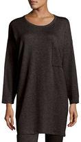 Eileen Fisher Long-Sleeve Fleece Tunic with Drama Pocket, Plus Size