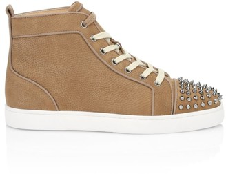 Christian Louboutin Louis Spikes Orlato Flat Pebbled Leather High-Top Sneakers