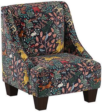 One Kings Lane Fletcher Kids' Accent Chair - Navy Frolic Linen