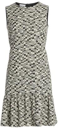Akris Punto Ikat Sleeveless Printed Flutter-Hem Dress