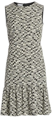 Akris Punto Ikat Sleeveless Printed Flutter-Hem Dress