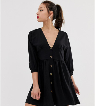 Asos Tall DESIGN Tall 3/4 sleeve smock dress with buttons and waist panel-Black