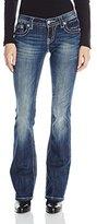 Miss Me Junior's Fleur De Lis Embellished Pocket and Yoke Bootcut Jean