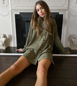 Wednesday's Girl relaxed mini shirt dress in cord