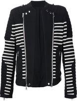 Balmain striped biker style jacket