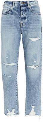Frame Le Original Distressed Straight-Leg Jeans
