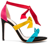 Alexandre Birman Suede Mary Heels in Abstract,Black,Green,Pink,Red,Yellow.
