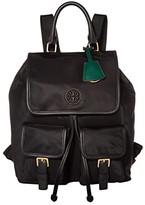 Tory Burch Perry Nylon Flap Backpack (Black) Backpack Bags