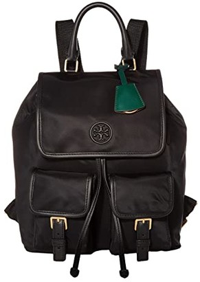 Tory Burch Perry Nylon Flap Backpack (Black) Backpack Bags