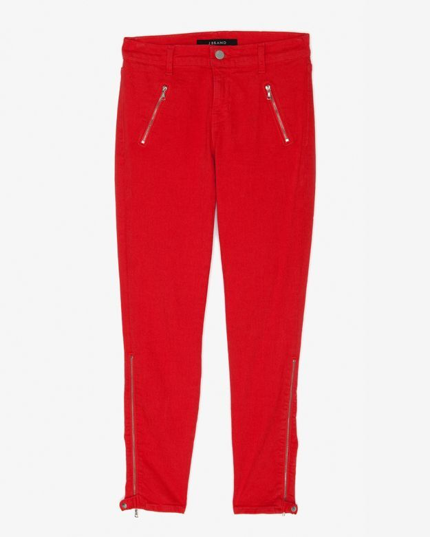 J Brand Exclusive Jewel Zip Moto Capri: Fiery Red