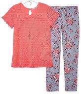 Self Esteem SE SS Crochet Top Legging Set w/ Necklace - Girls' 7-16 and Plus