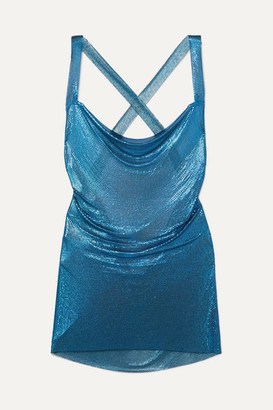 Fannie Schiavoni Hailey Open-back Chainmail Mini Dress - Teal